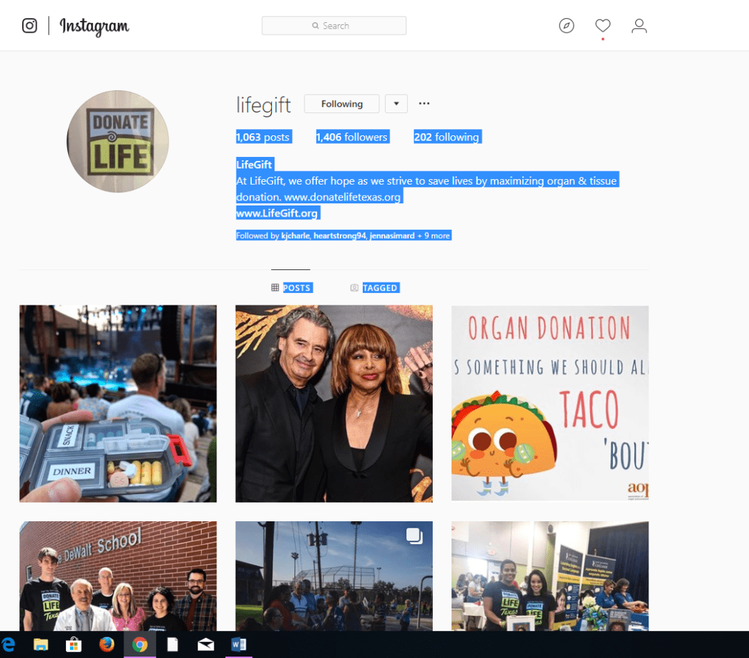 LifeGift Instagram